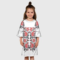Платье клеш для девочки Вышивка 28 цвета 3D — фото 2
