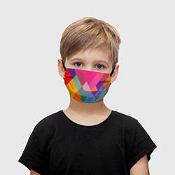 Маска для лица детская Разноцветные полигоны цвета 3D — фото 1