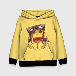 Толстовка-худи детская Pikachu цвета 3D-черный — фото 1