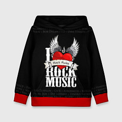 Толстовка-худи детская I Love Rock Music цвета 3D-красный — фото 1