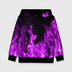 Толстовка-худи детская Фиолетовый огонь цвета 3D-черный — фото 1