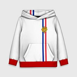 Толстовка-худи детская Франция: лента с гербом цвета 3D-красный — фото 1
