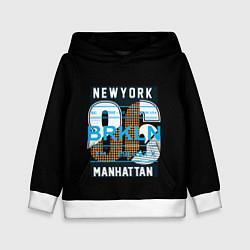 Толстовка-худи детская New York: Manhattan 86 цвета 3D-белый — фото 1