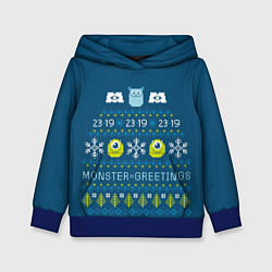 Толстовка-худи детская Monster greetings цвета 3D-синий — фото 1
