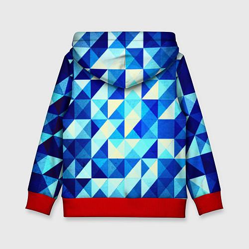 Детская толстовка Синяя геометрия / 3D-Красный – фото 2