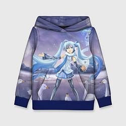 Толстовка-худи детская Hatsune Miku цвета 3D-синий — фото 1