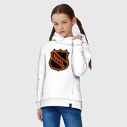 Детская хлопковая толстовка оверсайз с принтом NHL, цвет: белый, артикул: 10010707906093 — фото 2