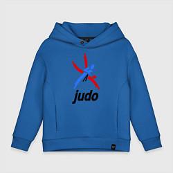 Толстовка оверсайз детская Judo Emblem цвета синий — фото 1