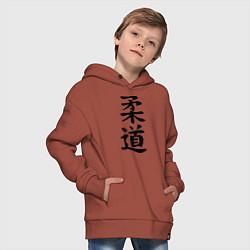 Толстовка оверсайз детская Дзюдо: иероглиф цвета кирпичный — фото 2
