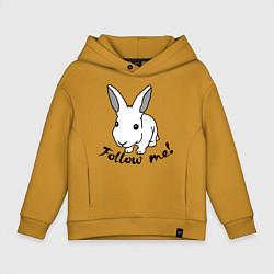 Толстовка оверсайз детская Rabbit: follow me цвета горчичный — фото 1
