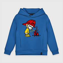 Толстовка оверсайз детская Ручной пожарник цвета синий — фото 1
