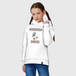 Толстовка оверсайз детская Дональд Дак цвета белый — фото 2