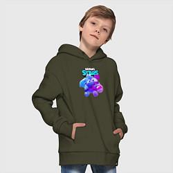 Толстовка оверсайз детская Сквик Squeak Brawl Stars цвета хаки — фото 2
