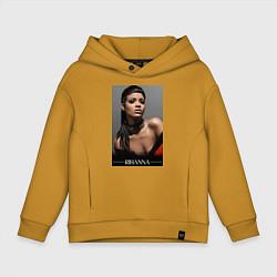 Толстовка оверсайз детская Rihanna: portrait цвета горчичный — фото 1