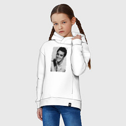 Детская хлопковая толстовка оверсайз с принтом Улыбка Элвиса, цвет: белый, артикул: 10068389306093 — фото 2
