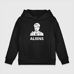 Толстовка оверсайз детская Mulder Aliens цвета черный — фото 1