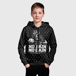 Толстовка на молнии детская No Pain No Gain цвета 3D-черный — фото 2