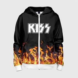 Толстовка на молнии детская Kiss: Hell Flame цвета 3D-белый — фото 1