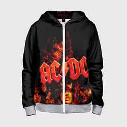 Толстовка на молнии детская AC/DC Flame цвета 3D-меланж — фото 1
