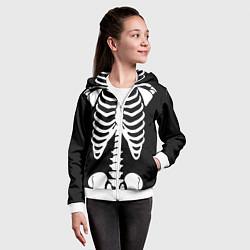 Толстовка на молнии детская Скелет цвета 3D-белый — фото 2