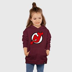 Толстовка детская хлопковая New Jersey Devils цвета меланж-бордовый — фото 2