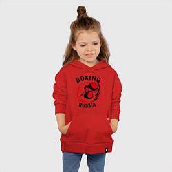 Толстовка детская хлопковая Boxing Russia Forever цвета красный — фото 2