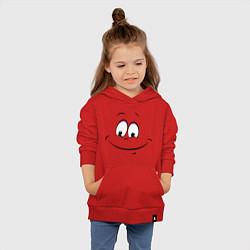 Толстовка детская хлопковая Позитив со всех сторон цвета красный — фото 2