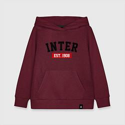 Толстовка детская хлопковая FC Inter Est. 1908 цвета меланж-бордовый — фото 1
