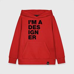 Толстовка детская хлопковая I am a designer цвета красный — фото 1