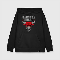 Толстовка детская хлопковая Gangsta Bulls цвета черный — фото 1