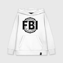 Толстовка детская хлопковая FBI Agency цвета белый — фото 1