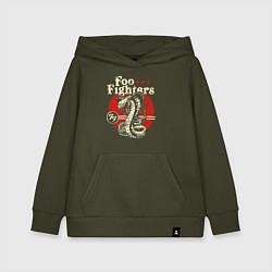 Толстовка детская хлопковая Foo Fighters: FF Snake цвета хаки — фото 1