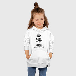 Толстовка детская хлопковая Keep Calm & Love Harry Styles цвета белый — фото 2