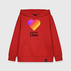 Толстовка детская хлопковая Король Likee цвета красный — фото 1