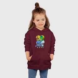 Толстовка детская хлопковая Brawl Stars Leon Quattro цвета меланж-бордовый — фото 2