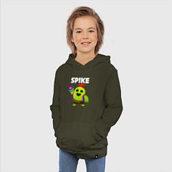 Толстовка детская хлопковая BRAWL STARS SPIKE цвета хаки — фото 2