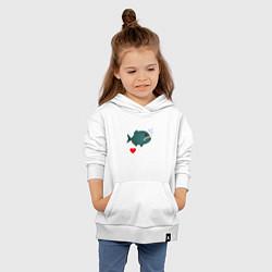 Толстовка детская хлопковая Добрая пиранья цвета белый — фото 2
