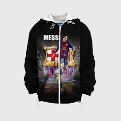 Детская 3D-куртка с капюшоном с принтом Messi FCB, цвет: 3D-белый, артикул: 10112080705458 — фото 1