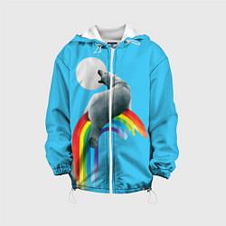 Детская 3D-куртка с капюшоном с принтом Полярный мишка, цвет: 3D-белый, артикул: 10113449305458 — фото 1
