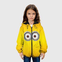 Детская 3D-куртка с капюшоном с принтом Глаза Миньона, цвет: 3D-черный, артикул: 10131815005458 — фото 2