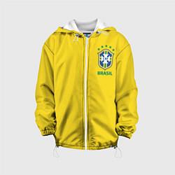 Детская 3D-куртка с капюшоном с принтом Сборная Бразилии, цвет: 3D-белый, артикул: 10143141105458 — фото 1