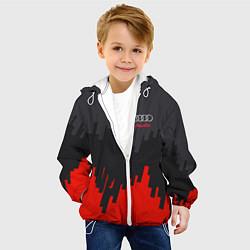 Детская 3D-куртка с капюшоном с принтом Audi: Tricolor, цвет: 3D-белый, артикул: 10144295105458 — фото 2