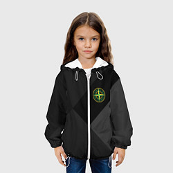 Детская 3D-куртка с капюшоном с принтом Stone Island: Black Geometry, цвет: 3D-белый, артикул: 10166647905458 — фото 2