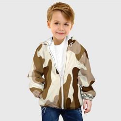 Куртка с капюшоном детская КОРИЧНЕВЫЙ КАМУФЛЯЖ цвета 3D-белый — фото 2