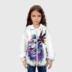 Куртка с капюшоном детская Лев арт цвета 3D-белый — фото 2