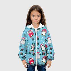 Детская 3D-куртка с капюшоном с принтом Новогодние Пингвины, цвет: 3D-белый, артикул: 10277182705458 — фото 2