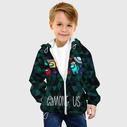 Куртка с капюшоном детская Among Us Ромбики цвета 3D-белый — фото 2
