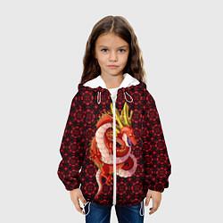 Детская 3D-куртка с капюшоном с принтом Шар дракона, цвет: 3D-белый, артикул: 10286260305458 — фото 2