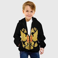 Куртка с капюшоном детская Герб России: золото цвета 3D-черный — фото 2