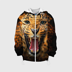 Куртка с капюшоном детская Рык леопарда цвета 3D-белый — фото 1